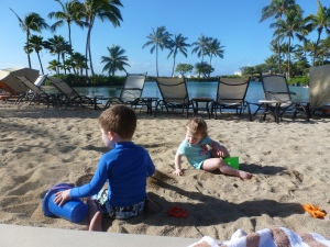 Kids playing at the Grand Hyatt in Kauai!